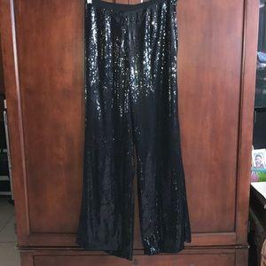 🎉🎩Amazing black sequin wide leg evening slacks